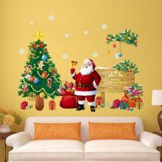 Christmas Santa Tree Removable Living Room Wall Stickers