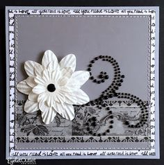 """Glam Grey"" card  by Lauren Bergold; Paper Flowers, Swirl Bling, Heart Bling, Black & White Wide Washi, Skinny Washi by Eyelet Outlet."