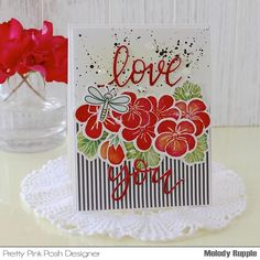 The Geraniums Stamp Set and the Love You Script Die are a pretty combination Pretty Pink Posh, Geraniums, Cute Cards, Card Making, Love You, Valentines, Create, Paper, Flowers