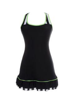 Black Dress With B&W and Green Detail www.modaypadel.com #padel #modapadel #padelfemenino