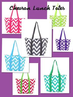 Chevron Lunch Totes from Southern Lotus Boutique on Facebook.