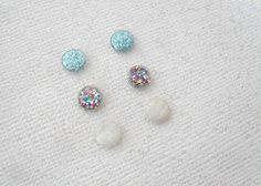 3 pairs glitter resin studs faceted blue rainbow by addieladawn, $6.00