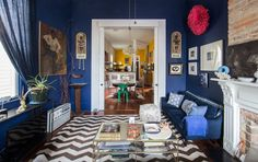 """It took Carla two-and-a-half years to muster the courage to put color on her walls. """"The color added dimension,"""" she says of the addition of bold blue, yellow, and lime green paint to her home. Living Room Decor Inspiration, Design Inspiration, Design Ideas, New Orleans Homes, Room Interior Design, Interior Paint, Luxury Interior, Interior Ideas, Blue Rooms"""