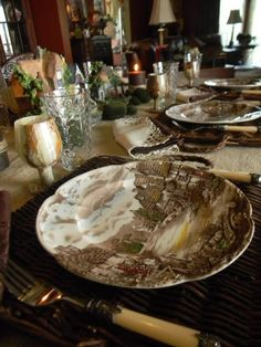 Nancy's Daily Dish: Olde English Countryside Brown Transferware Tablescape ~ Book Inspired
