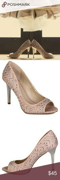 INC studded peeptoe high heels Gorgeous heels with beautiful diamond studs. The heels have a mirror look to them. Beautiful blush pink color. Only worn for a few hours. Bottoms have normal wear for being worn a few hours. INC International Concepts Shoes Heels