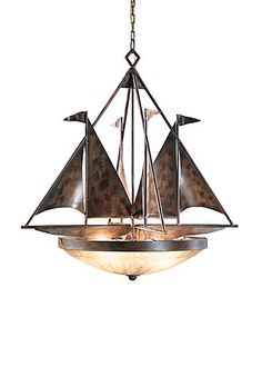 SAILBOATS CHANDELIER - Handmade and Finished Iron Four Lights #wildwoodlamps