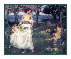 Springtime inspired by John William Waterhouse Counted Cross Stitch or Counted Needlepoint Pattern
