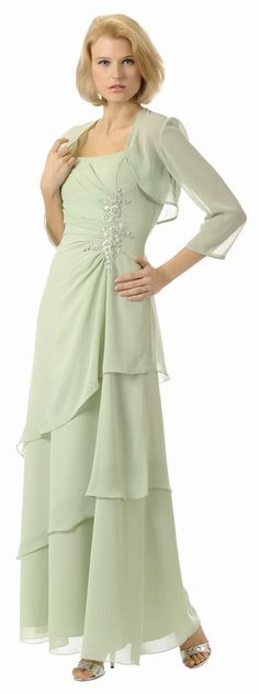 Sage-Green Mother of the Bride Groom Dress Gown (Size S to 5 XL)#2898POL