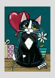 Original Cat ACEO - Tuxedo Cat Gifts of Love by Lisa Marie Robinson, £11.50