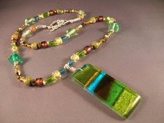 hand beaded fused glass pendant necklace by Sarah Tippit