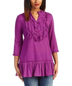 Loving this Plum Ruffle Notch Neck Top - Women on #zulily! #zulilyfinds