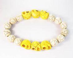 Beautiful Turquoise Yellow Skull White Ball Beads Stretch Bracelet
