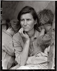 """Destitute pea pickers living in tent in migrant camp. Mother of seven children. Age thirty-two."" Nipomo, California. February 1936. This is the famous photo, ""Migrant Mother"" by Dorothea Lange. See other photos elsewhere."