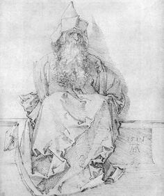 Seated Prophet. Durer. 1517. Pen. 232 x 192 mm. Graphische Sammlung Albertina. Vienna.