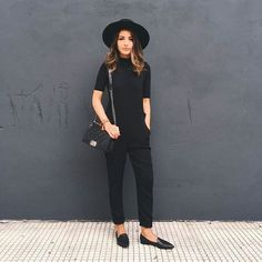 black fashion Pin for Later: 33 Easy Black Outfits That Will Speak to Your Soul A Sleeved Jumpsuit, Hat, and Loafers Outfits With Hats, Fall Outfits, Casual Outfits, Fashion Outfits, Woman Outfits, Fashionable Outfits, Fashion Weeks, Summer Outfits, Fashion Moda