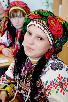 North Asia | Portrait of a Mordovian girl wearing traditional clothes, Russia