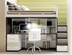Small Bedroom Design With Solid Wood Loft Bed In White Finished Havinf Office Desk With Dresser And Bookcase Built In Storage Stair. Marvelous Adult Loft Bed With Desk For Saving Space Interior Más Bedroom Desk, Small Room Bedroom, Bedroom Loft, Trendy Bedroom, Bedroom Storage, Small Rooms, Small Spaces, Storage Stairs, Kids Bedroom