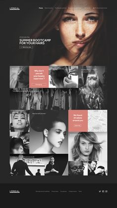 loreal professionnel web design: Again bold imagery on landing pages. Pink is a great accent colour to the black. Adds contrast with still maintaining a clean look to it. Web Design Mobile, Web Mobile, Web Ui Design, Page Design, Flat Design, Design Design, Website Layout, Web Layout, Layout Design