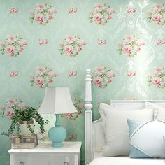 Modern 3D Mural Wallpaper European Style 3D Stereoscopic Wall Paper for Walls Blue Pink Floral Wallpaper Design for Bedroom -in Wallpapers from Home Improvement on Aliexpress.com | Alibaba Group