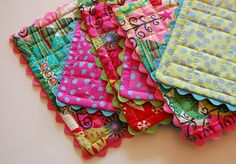 Cute quilted coasters!  Would also make great hot pads!!  I want some of these.  LOVE the patchwork  quilting!!