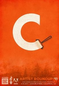 This graphic poster is good example of implied texture. The artist wanted imply that the letter C is freshly painted. In proportion to paint roller is smaller than the letter but wide enough to make the letter C. The artist also used contrasting white on orange.  Dribbble - Final_Poster.jpg by Mike Jones