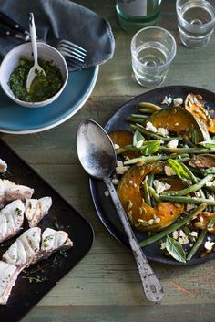 The Pool   Food and home - Baked fish with pumpkin, basil sauce and feta
