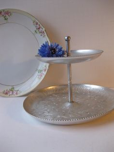 vintage aluminum floral two tiered serving tray