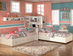 Kids room space saving solutions. HATE the color of the room but love the bed corner organizer.