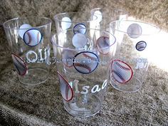 Baseball cups with names-baseball party