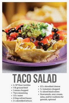 Taco Salad Recipe Taco salad is a hearty, fresh stand-alone dish that is simple to make and sure to be satisfying.
