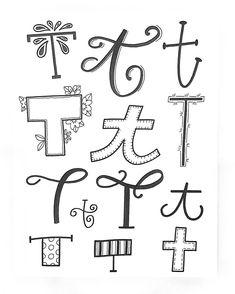 Afbeeldingsresultaat voor handlettering t Doodle Fonts, Calligraphy Doodles, Doodle Lettering, Creative Lettering, Lettering Styles, Calligraphy Letters, Brush Lettering, Schrift Design, Hand Lettering