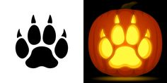 Paw print pumpkin carving stencil. Free PDF pattern to download and print at http://pumpkinstencils.org/download/paw-print-pumpkin-stencil/