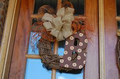 FALL Wreath with initial and Burlap Bow GREAT for by brandiwalk, $50.00