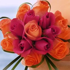 Order Romantic Bridesmaids Rose Bouquets with Dark Pink and Orange Roses Orange Wedding, Rose Wedding, Wedding Flowers, Dream Wedding, Sunset Wedding, Wedding Wishes, Fall Wedding, Wedding Bouquets, Wedding Reception
