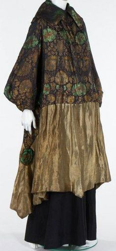 A rare and early Jeanne Lanvin orientalist brocade evening coat, believed to have been exhibited in the French Pavillion of the Panama Pacific International Exposition, San Francisco, The label embroidered and dated 'Octobre Jeanne Lanvin, Edwardian Fashion, Vintage Fashion, Period Outfit, Moda Fashion, Gothic Fashion, Historical Costume, Vintage Beauty, French Fashion