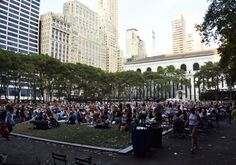 The crowd gathers for an outdoor movie at Bryant Park #NYC #travel #summer