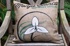 UPCYCLED Burlap COFFEE Bag pillow made from by SewCuteThreads