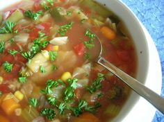 Alternative diet soup that does not include cabbage. Recipe is from Good Housekeeping. To retain freshness and nutrients keep a 2 day supply of Basic Soup in the refrigerator. Pack remaining soup in 3 cup portions in airtight containers, leaving some room for expansion. Freeze.