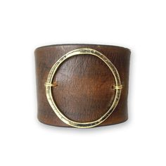 Items similar to Leather Statement Bracelet-Joanna Gaines Jewelry - Genuine Leather Cuff with metal circle accent - Boho Mom Jewelry on Etsy Leather Cuffs, Leather Earrings, Leather Jewelry, Metal Jewelry, Leather Cuff Bracelets, Cowhide Leather, Metal Ring, Mom Jewelry, Handmade Jewelry