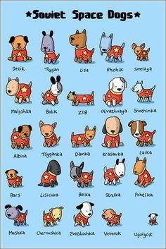 Los adorables perros del programa espacial soviético en un póster