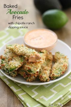 Baked Avocado Fries with Chipotle Ranch Dipping Sauce... Really good. We made a different dipping sauce w ranch dressing, sweet chili sauce, kickin chicken spices and lime juice