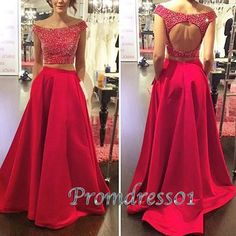 Unique two pieces prom dresses long, red satin senior prom dress, 2016 handmade evening dress for teens
