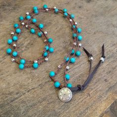 "Turquoise Knotted Crochet Necklace ""Boho Chic"" Bohemian Jewelry on Etsy, $45.00"