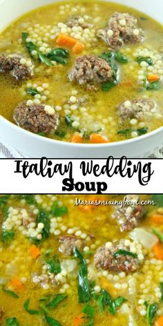 Jan 2020 - When's the last time that you tasted Italian Wedding Soup?This soup is so hearty and flavorful. Not to mention, it's simple, quick and easy!That way, you can whip it up anytime that you want. Easy Soup Recipes, Easy Dinner Recipes, Healthy Dinner Recipes, Cooking Recipes, Brothy Soup Recipes, Healthy Hearty Soup, Easy Crockpot Soup, Salad Recipes, Italian Wedding Soup Recipe