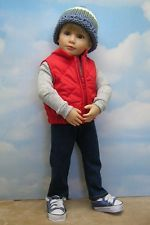 "4-piece Red Vest set by BEVBEESE to fit 18"" Kidz'n'Cats boy doll"