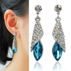 Hot+Sale+Elegant+Noble+Silver+Blue+Rhinestone+Crystal+Teardrop+Dangle+Earrings