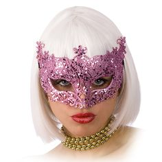 Antifaz veneciano rosa brillante adulto: Este antifaz para adulto mide alrededor de 19,5 cm de acho y se sujeta con una goma negra.Esta máscara es de color rosa con billantes y efecto encaje.Es perfecto para completar un disfraz en...