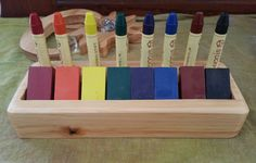 Wooden Crayon Holder Waldorf Steiner by Folkwood on Etsy