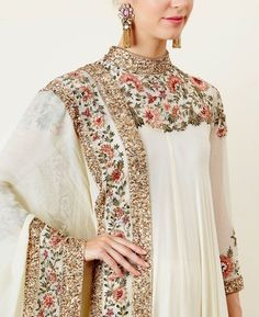 Ivory Asymmetric Kurta Set with Thread Embroidery impressive Pakistani Bridal Dresses, Pakistani Dress Design, Pakistani Outfits, Indian Outfits, Pakistani Party Wear, Pakistani Kurta, Beautiful Pakistani Dresses, Pakistani Designer Suits, Pakistani Dresses Online