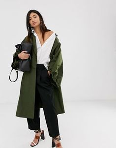 Browse online for the newest ASOS DESIGN extreme sleeve tech trench coat styles. Shop easier with ASOS' multiple payments and return options (Ts&Cs apply). Asos, Camo Denim Jacket, Coats For Women, Jackets For Women, Trench Coat Style, Maxi Shirt Dress, Crop Shirt, Streetwear Fashion, Safari
